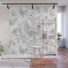 Pattern with turkey and feathers Wall Mural