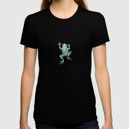 green lichen crawling frog silhouette T-shirt