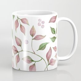 Pink And Green Leaves With Pearls Coffee Mug