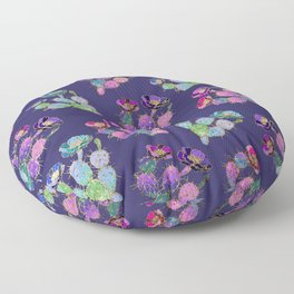 Modern watercolor pink lilac purple gold cactus floral Floor Pillow