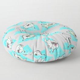 Aqua Yoga Pigs - Downward Facing Hog Floor Pillow