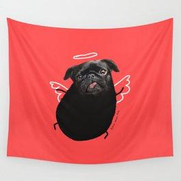 Black Angel Pug Wall Tapestry