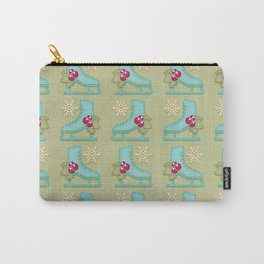 ice skates background Christmas Carry-All Pouch