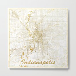 Indianapolis Map Gold Metal Print