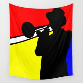Jazz trombone player silhouette mondrian colors Wall Tapestry