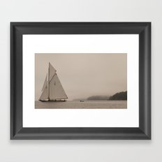 Sail with Island Fog Framed Art Print