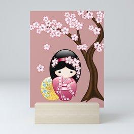 Japanese Spring Kokeshi Doll on Pink Mini Art Print