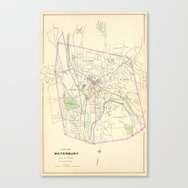 Vintage Map of Waterbury CT (1893) Canvas Print