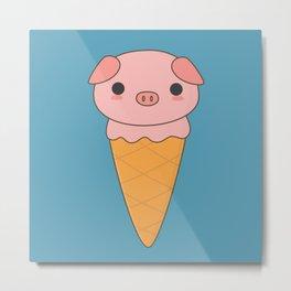 Kawaii Cute Pig Ice Cream Metal Print