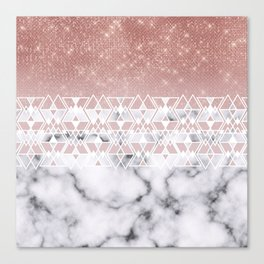 Modern Rose Gold White Marble Geometric Ombre Canvas Print