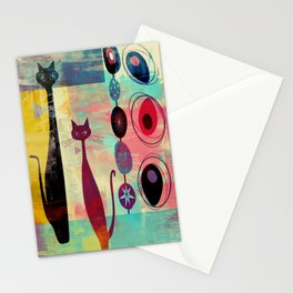 Mid-Century Modern 2 Cats - Graffiti Style Stationery Cards