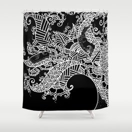 Zen Tree Rebirth Black Left Half Shower Curtain