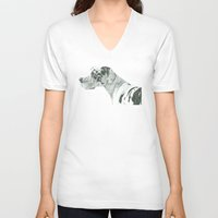 great dane V-neck T-shirts featuring Great dane - harlequin by Doggyshop