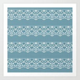 Blue lace fabric. Graphic design. Art Print