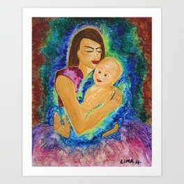Only Love is lovely: Acrylic Painting of a Mother and her Child Art Print