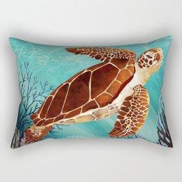 Metallic Sea Turtle Rectangular Pillow