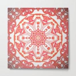 Romantic Peach Mandala Design Metal Print