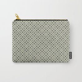 Vintage chic green black geometrical floral pattern Carry-All Pouch
