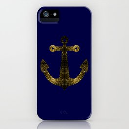 Yellow Gold sparkles Anchor on Dark navy blue iPhone Case