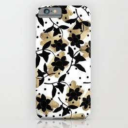 Modern abstract black  gold brushstrokes dots floral iPhone Case