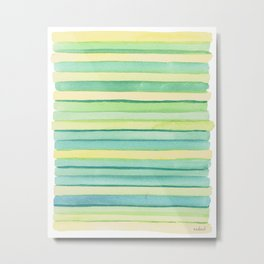 Green stripes. Metal Print