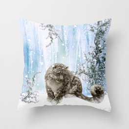 Wonderful snowleopard Throw Pillow