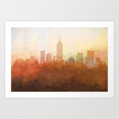 Indianapolis Skyline - In the Clouds Art Print