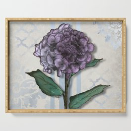 Hydrangea Damask and Quartrefoil Mixed Media Serving Tray