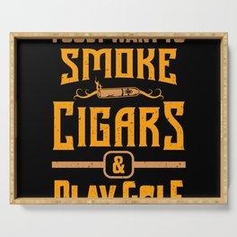 Smoker Smoking Smoke Cigars Play Golf Golfer Gift Serving Tray