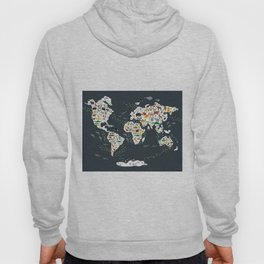 Cartoon animal world map for kids, back to schhool. Animals from all over the world Hoody