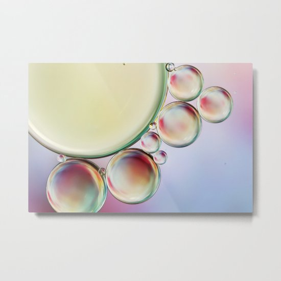 Bubble Abstract with a hint of Pink Metal Print