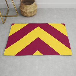 Sunnydale High Chevron (Maroon & Gold Diagonal Stripe Pattern) Rug