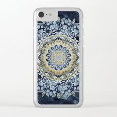 Blue Floral Mandala Clear iPhone Case