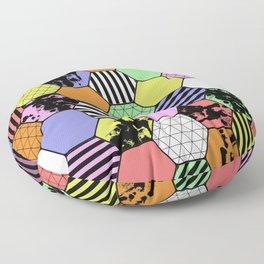 Pastel Tex Hex - Abstract, geometric, pastel themed, hexagon pattern Floor Pillow