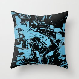 Blue and Black Swirls - abstract pattern Throw Pillow