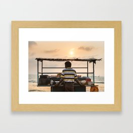 A sri lankan male vendor selling seafood fried standing next to his stall store, Colombo. Framed Art Print