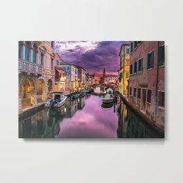 Venice Canal at Sunset Metal Print