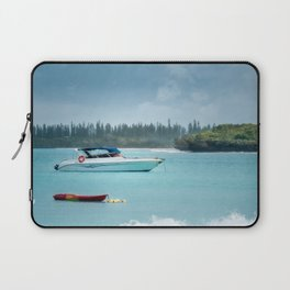 Boat on the water at Kuto Bay on the Isle of Pines Laptop Sleeve