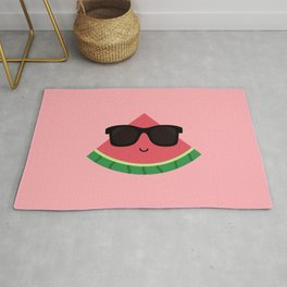 Cool Watermelon with Black Sunglasses Rug