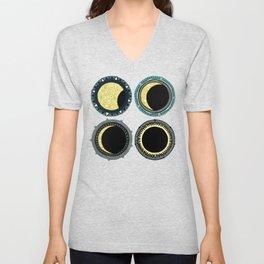 solar eclipse mandala orange Unisex V-Neck