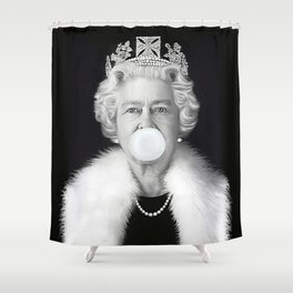 QUEEN ELIZABETH II BLOWING WHITE BUBBLE GUM Shower Curtain