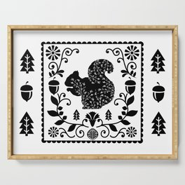 Woodland Folk Black And White Squirrel Tile Serving Tray