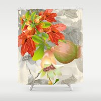 pomegranate Shower Curtains featuring Pomegranate. by Nato Gomes