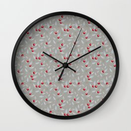 Red berries and grey silver small foliage leaves pattern Wall Clock
