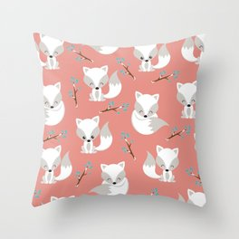 ARCTIC FOXES ON CORAL Throw Pillow