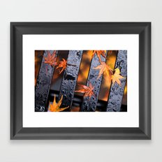 Leaves on a Bench Framed Art Print