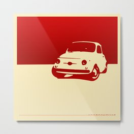 Fiat 500 1959, Red on Cream Metal Print