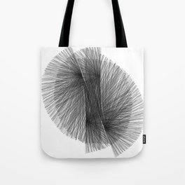 Black & White Radiating Lines Mid Century Modern Geometric Abstract Tote Bag