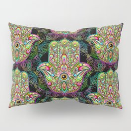 Hamsa Hand Amulet Psychedelic Pillow Sham
