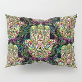 Hamsa Hand Amulet Psychedelic Pillow Sham